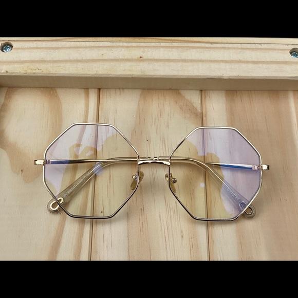 Geometric octagon clear glasses
